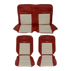 Tmi Pony Front Rear Sport Seat Upholstery Maroon white 1965 1966 Mustang Coupe