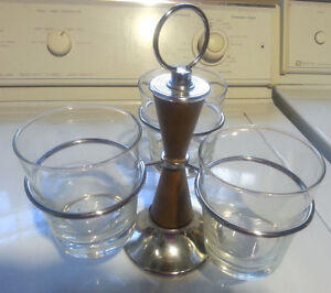 Mid Century Modern Condiment Server Caddy Chrome Finish 3 Glass Compartments