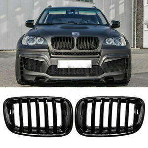 Front Gloss Black Kidney Grill Grille Frame For Bmw X5 E70 X5m X6 E71 E72 07 14