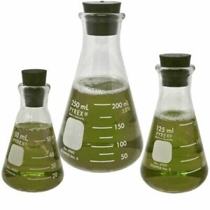 Narrow Mouth Erlenmeyer Flask Set W Magnetic Stir Bar Boro Glass 50 125 250ml
