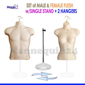 2 Mannequins 1 Stand 2 Hangers Male Female Flesh Form Display s Shirt