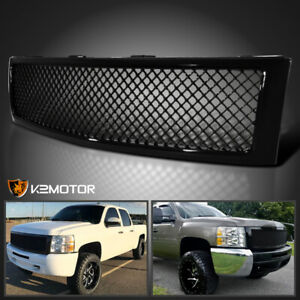 2007 2013 Chevy Silverado 1500 Shiny Black Front Hood Mesh Grille Abs 1 Pc