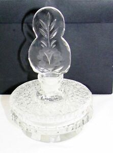 Antique Art Deco Crystal Perfume Bottle Intaglio Etched Dauber Czechoslovakia