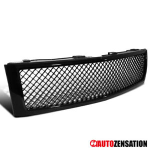 07 13 Chevy Silverado 1500 Truck Glossy Black Abs Mesh Front Bumper Hood Grille
