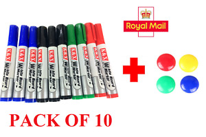 Whiteboard Markers 10 Pens White Board Mixed Colours Easy Wipe Free Magnets