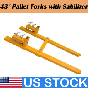 2000lb 43 Inch Clamp On Pallet Forks Stabilizer Bucket Tractor Loader Usa