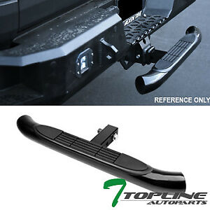 Topline Universal 2 Trailer Tow Receiver Rear Hitch Step Bar Bumper Guard Blk