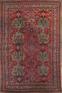 Pre 1900 Vegetable Dye Geometric Antique 10x14 Oushak Turkish Oriental Area Rug