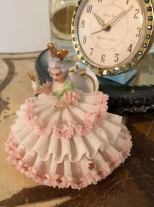 Antique Dresden Lace Porcelain Ballerina Dancer On Chair Hand Mirror German