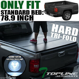 Topline 746756377507 Hard Tri Fold Truck Bed Tonneau Cover Led Touch Lamps