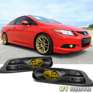 For 2012 2013 Honda Civic 2dr Coupe Yellow Bumper Fog Lights Switch Left Right