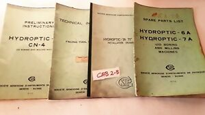 Lot Of 4 Societe Genevoise Hydroptic 6a 7a Cn 4 Jig Boring Machine Manuals