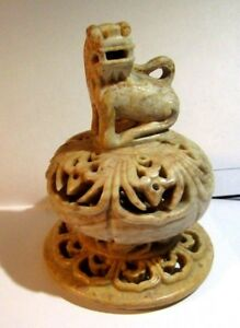 Vintage Foo Dog Soapstone Finial Intricate Carving So Nice