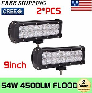 2x 54w 9 Inch Led Work Light Bar Flood Lights Fog Driving Offroad Suv 4wd Truck