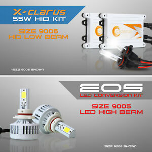 4pc 9006 Hid Headlight Kit Low Beam 9005 Led High Beam Bulbs Combo 6000k White