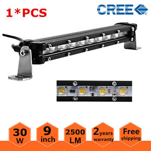 5d 9inch 30w Single Row 4wd Led Light Bar Slim Suv Offroad Ford Atv Boat 8 10