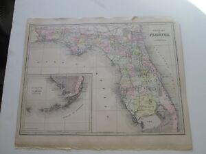 One 1 1894 Map Of Florida From The New Family Atlas