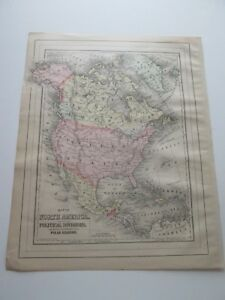 One 1 1894 Map Of North America From The New Family Atlas