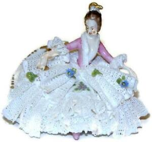 Oldest Volkstedt Dresden Lace Figurine Lady In Recamier With Fan Miniature