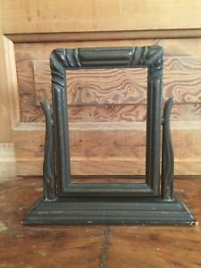 Vintage Art Deco Carved Wooden Swing Picture Frame On Stand