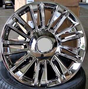 24 Full Chrome Wheels For Cadillac Escalade Chevy Silverado Gmc set Of 4 Rims