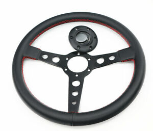 Universal Jdm Red 350mm D Carbon Fiber Look Pvc Flat Dish Racing Steering Wheel