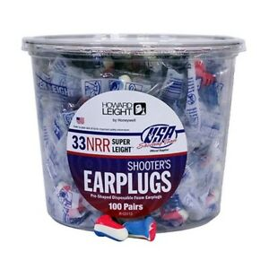 Howard Leight R 03113 Earplugs Shooter Pre shaped Foam Red white blue 100 Pack
