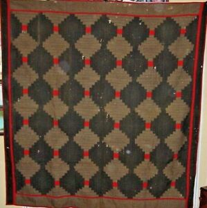 Antique Light Dark Wool Log Cabin Quilt C1850s