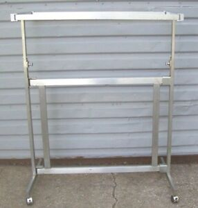 Store Fixture Supplies h Style 2 Bar Clothing Garment Rack On Rollers Collapse