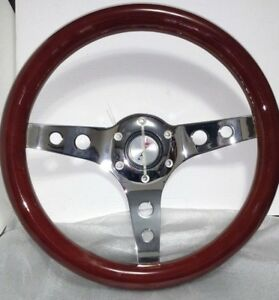 13 Mahogany Steering Wheel 3 Spoke Chrome Holes Center For Gm Chevy 1969 2007
