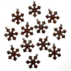 12 Faux Rustic Rusty Snowflakes With Loop For Crafts Sewing 3 4 Inch