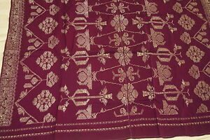 Antique Lotus Metallic Gold Burgundy Embroidery Brocade Songket Skirt Wrap Sg42