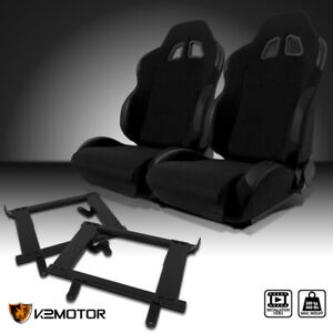 1999 2004 Ford Mustang Jdm Black Cloth Pvc Leather Racing Seats brackets Kit