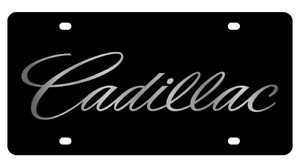 Cadillac Script Logo Genuine Carbon Stainless Steel 3d Logo License Plate