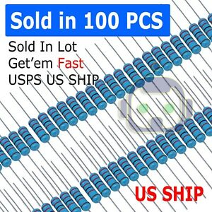 100pcs 1 4w 0 25watt Metal Film Resistor 1 1 To 9 1m Ohm Resistance Usa