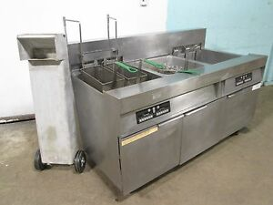 frymaster Commercial H d 2 Bank Electric Fryers W auto Lift Filtration Unit