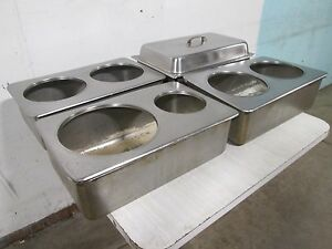 Lot Of 4 duke H d Commercial S s Steam Pans W soup Pot Plates Dome Cover