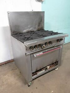 garland H 286 Commercial Hd nsf Natural Gas 6 Burners Stove W oven Casters