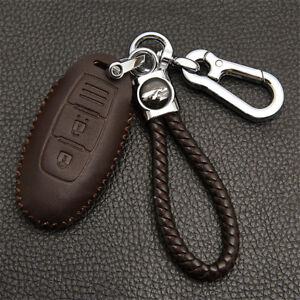 For Nissan Brown Car Real Leather Chromium Remote Key Bag Case Cover Key Chain