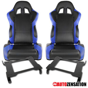 Ford 05 14 Mustang Black blue Pvc Leather Racing Seats laser Welded Brackets