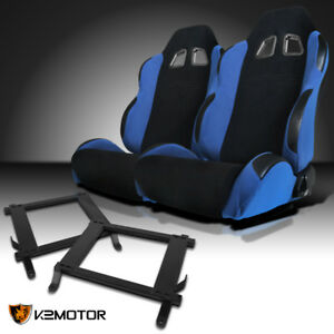 2005 2014 Ford Mustang Black light Blue Cloth Sports Racing Seats W brackets Kit