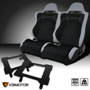 79 98 Mustang Cloth Black Center Gray Trim Racing Seats laser Welded Brackets