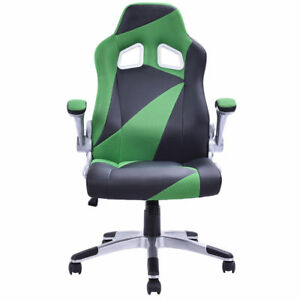 Green Black Office Desk Racing Car Gaming Chair Bucket Seat Pu Leather Ergonomic