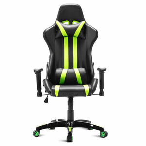Green Black Office Computer Desk Racing Chair High Back Reclining Headrest Wheel