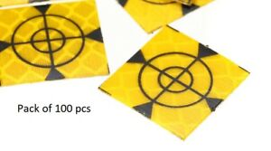 100x Retro Survey Targets 100 Pack 20x20 Mm Adhesive For Total Stations Edm