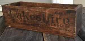 Primitive Vintage Decorative Advertising Lakeshire Wood 5 Lb Cheese Box Rustic