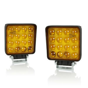 2pc 4 48w Square Cree 5d Spot Led Work Light Amber Offroad Fog Pod Lamps