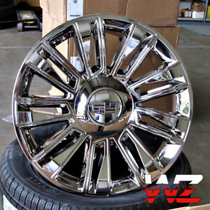 22 Platinum Style Full Chrome Wheels Fit Cadillac Escalade Ext Chevy 22x9 Set 4