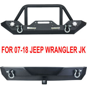 Black Textured Front Rear Bumper Combo W Led Lights For 07 18 Jeep Wrangler Jk A