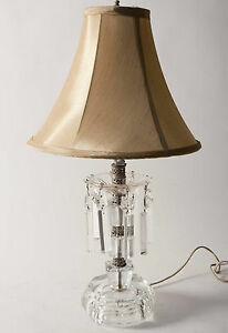 Antique Solid Crystal Lamp Cut Crystal Prisms Mantle Boudoir Lamp C 1930